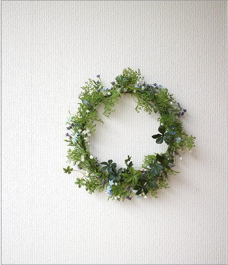 フェイクグリーンの壁飾り 忘れな草のリース(6)