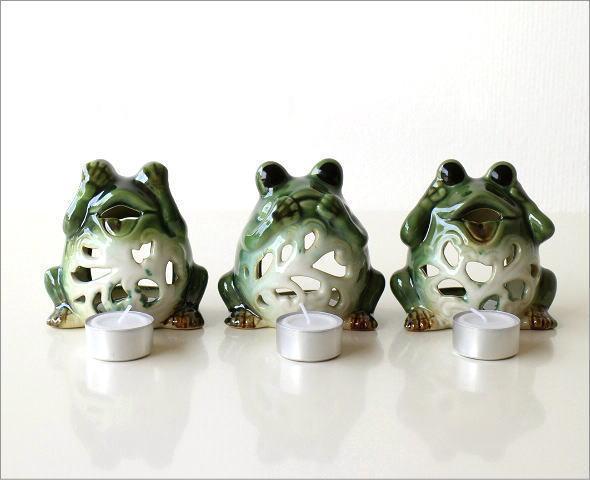 カエルのキャンドルポット 3セット(4)