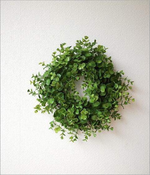 フェイクグリーンの壁飾り ユーカリのリース(5)