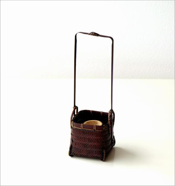 竹籠花入れ 四角(5)