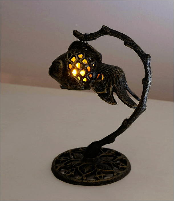LED付きアイアン金魚のランタン(1)