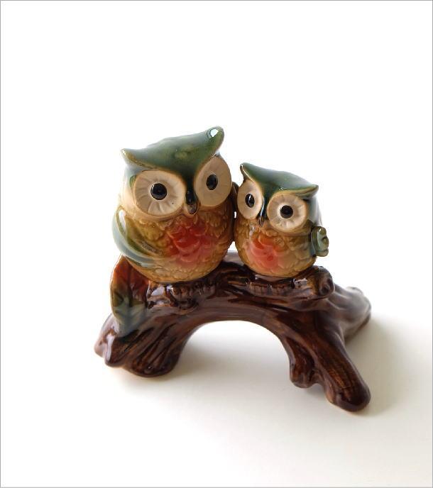 陶器の置物 親子フクロウ(1)