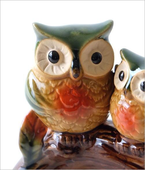 陶器の置物 親子フクロウ(2)