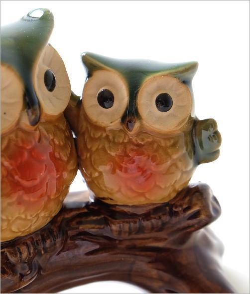 陶器の置物 親子フクロウ(3)