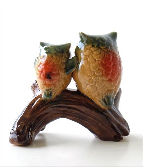 陶器の置物 親子フクロウ(4)