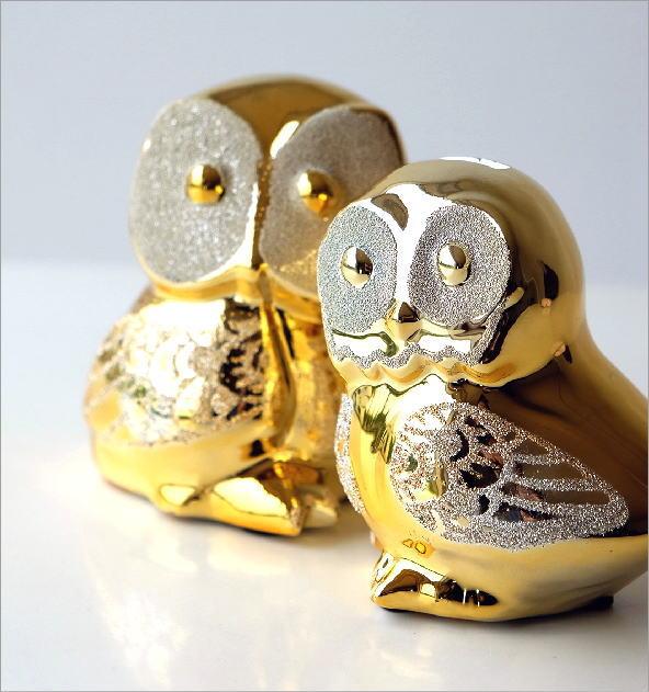ゴールドの夫婦フクロウ貯金箱(1)