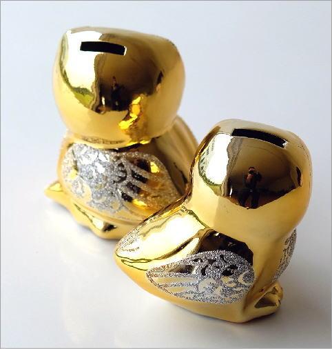 ゴールドの夫婦フクロウ貯金箱(2)