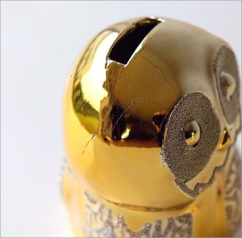 ゴールドの夫婦フクロウ貯金箱(3)