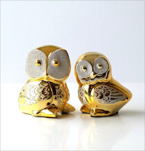 ゴールドの夫婦フクロウ貯金箱(4)