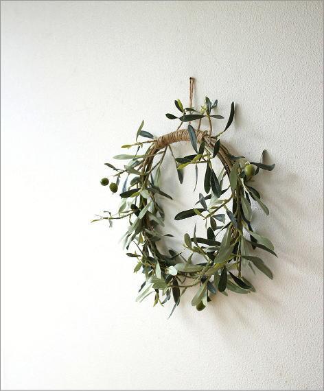 フェイクグリーンの壁飾り オリーブリース(5)