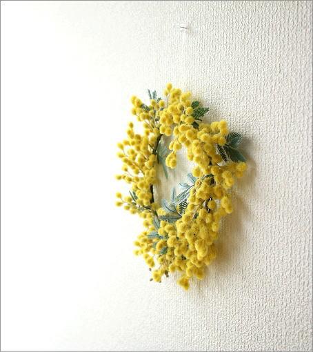 リーンの壁飾り ミモザのリースS(4)