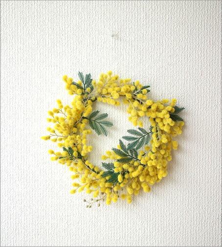 リーンの壁飾り ミモザのリースS(5)