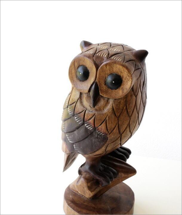 木彫りのオブジェ 止まり木フクロウ(1)