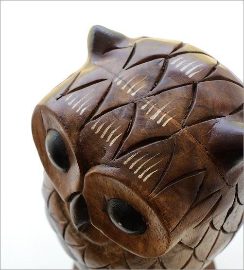 木彫りのオブジェ 止まり木フクロウ(3)