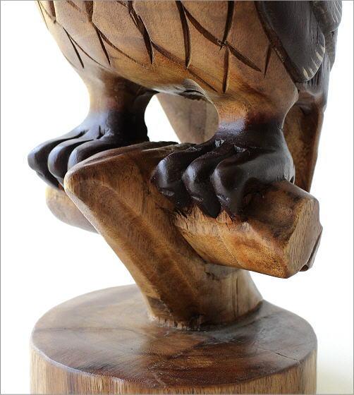 木彫りのオブジェ 止まり木フクロウ(4)