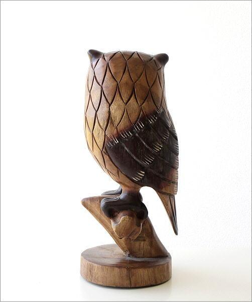 木彫りのオブジェ 止まり木フクロウ(5)