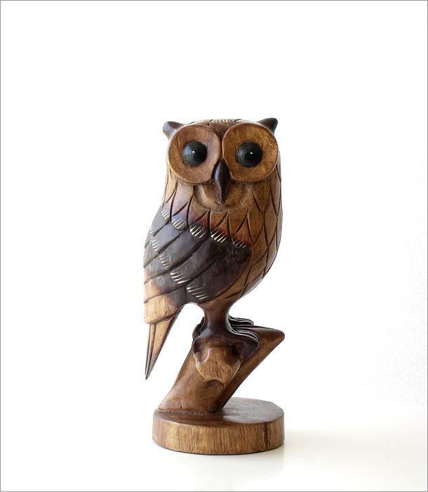 木彫りのオブジェ 止まり木フクロウ(6)