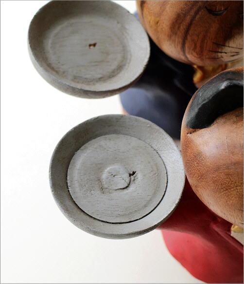 木彫りの置物 ウェイターネコ2カラー(3)