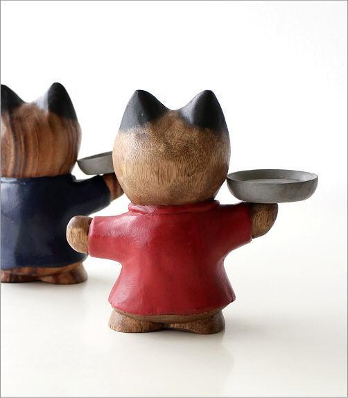 木彫りの置物 ウェイターネコ2カラー(4)