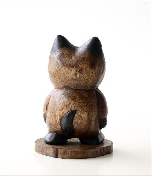 木彫りの置物 お散歩ネコ(4)