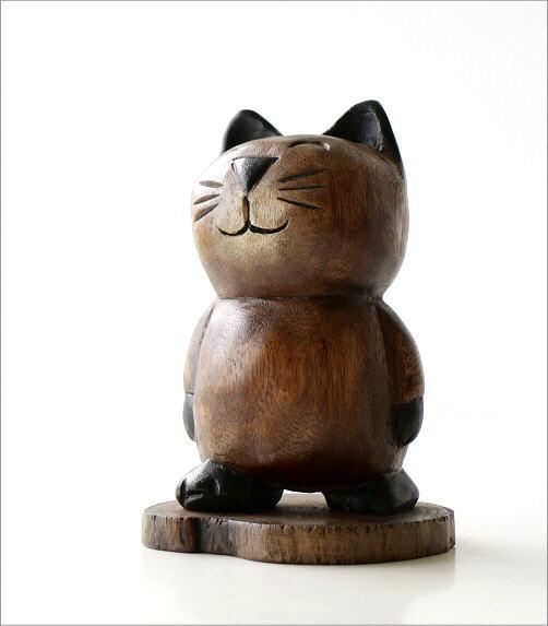 木彫りの置物 お散歩ネコ(5)