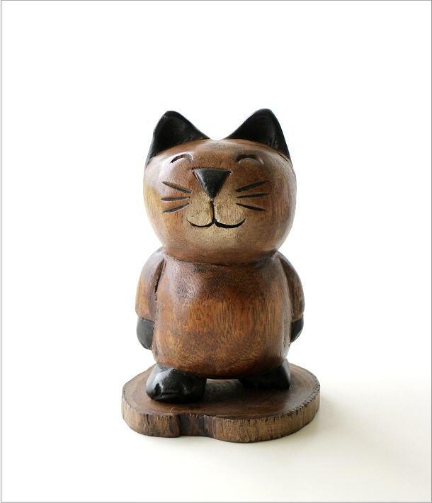 木彫りの置物 お散歩ネコ(6)