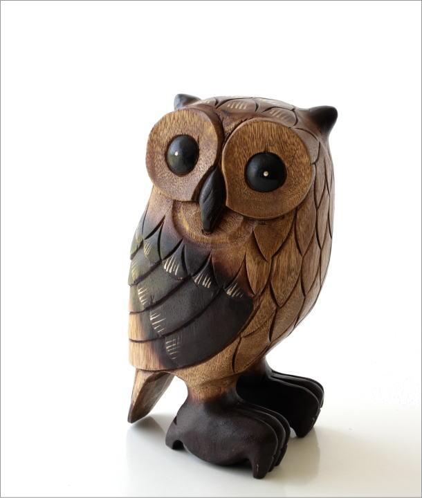木彫りのオブジェ フクロウL(1)