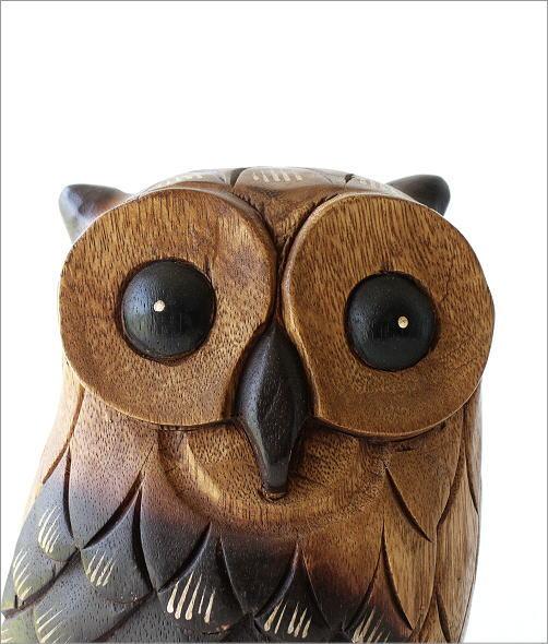木彫りのオブジェ フクロウL(2)