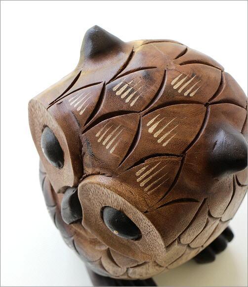 木彫りのオブジェ フクロウL(3)