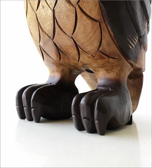 木彫りのオブジェ フクロウL(4)