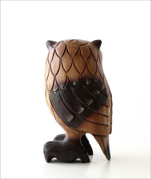 木彫りのオブジェ フクロウL(5)