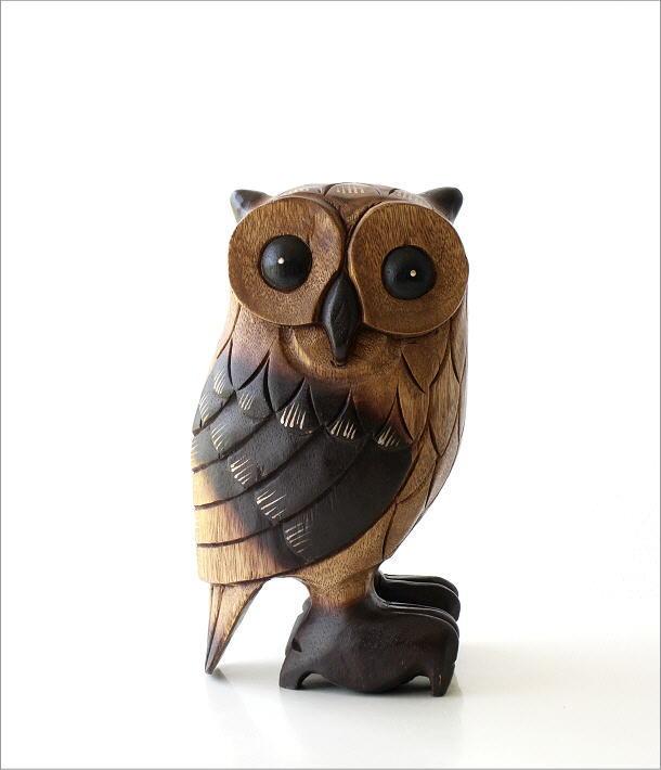 木彫りのオブジェ フクロウL(6)
