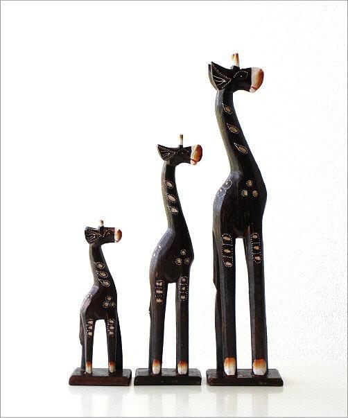 木彫りのオブジェ キリンの親子3匹セット(4)