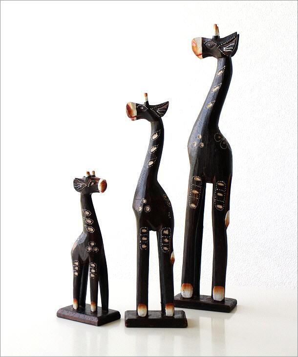 木彫りのオブジェ キリンの親子3匹セット(5)