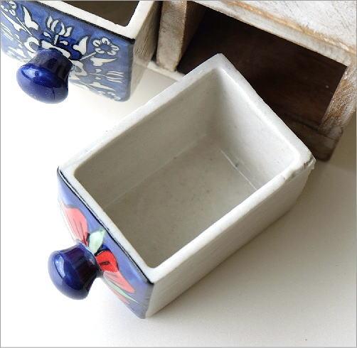 陶器の2引出しミニチェスト2カラー(2)