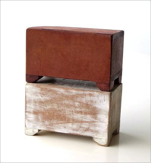 陶器の2引出しミニチェスト2カラー(3)