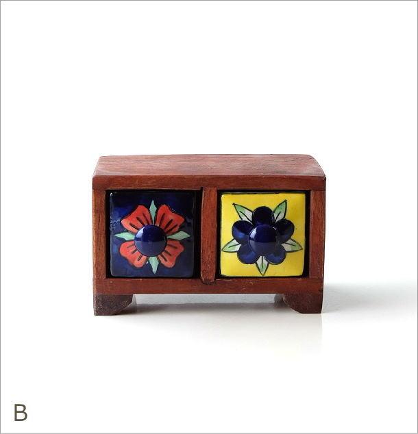 陶器の2引出しミニチェスト2カラー(5)