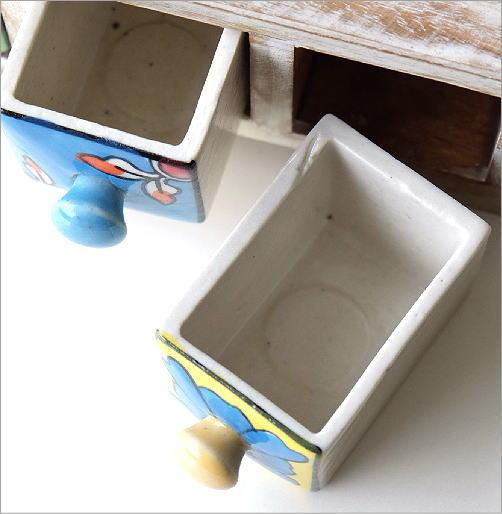 陶器の3引出しミニチェスト2カラー(2)