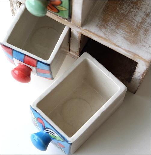 陶器の3ステアミニチェスト2カラー(2)