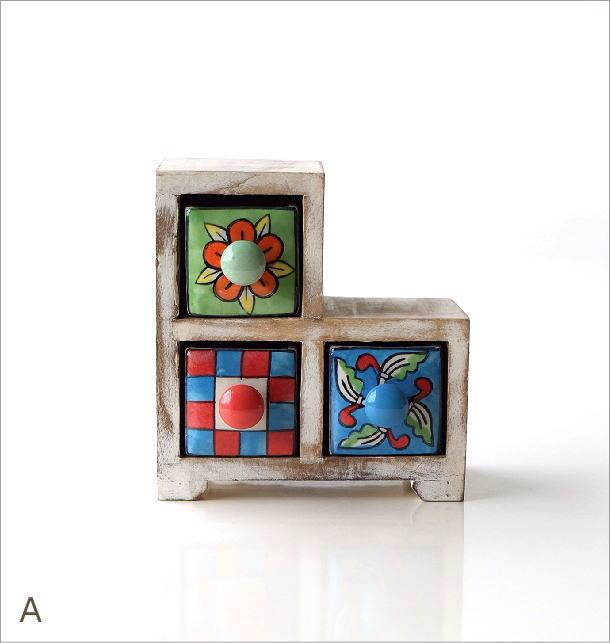 陶器の3ステアミニチェスト2カラー(4)