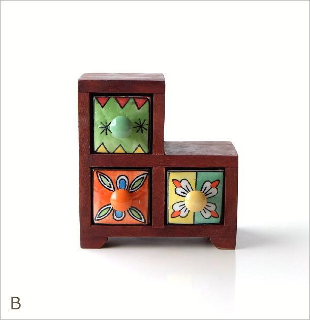陶器の3ステアミニチェスト2カラー(5)