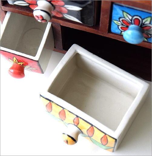 陶器の2段引き出しミニチェスト2カラー(2)