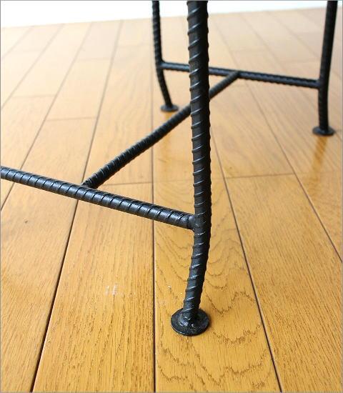 アイアンとウッドの組み木ローテーブル(4)