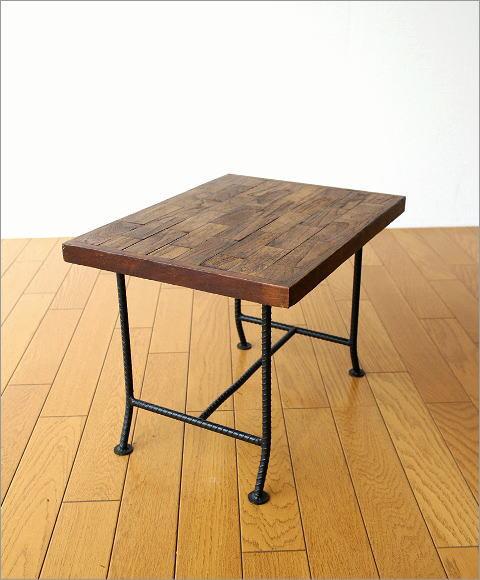 アイアンとウッドの組み木ローテーブル(5)