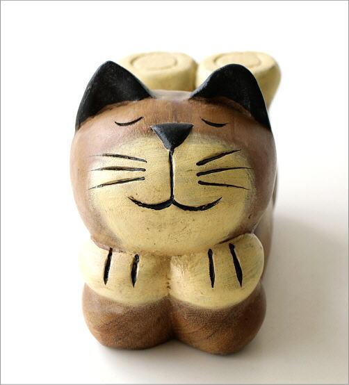 木彫りの置物 寝そべりネコ(2)