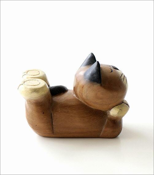 木彫りの置物 寝そべりネコ(3)