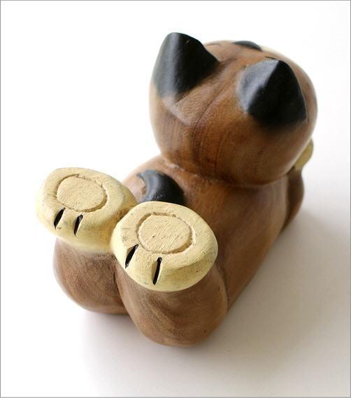 木彫りの置物 寝そべりネコ(4)