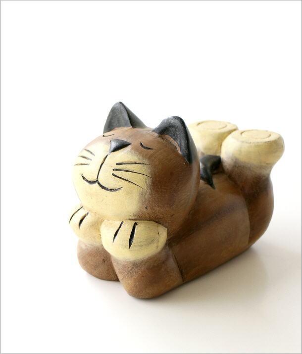 木彫りの置物 寝そべりネコ(5)