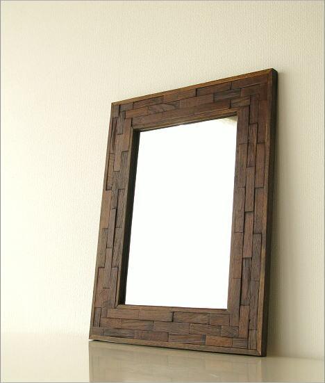 壁掛け鏡 壁掛け組み木ミラー(1)