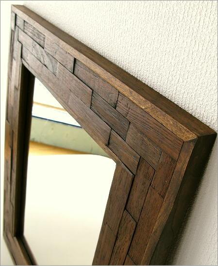 ウォールミラー 壁掛け組み木ミラー(2)